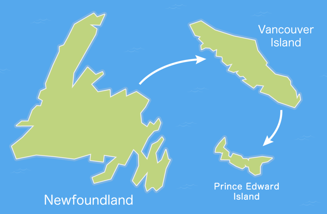 a fictitious ocean that conveniently shows the size of each island